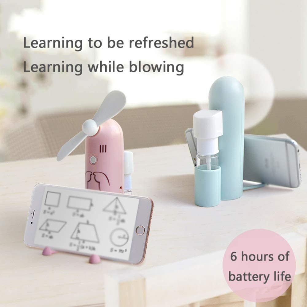 a three-pur LMMNFS Small mini electric fan portable storage fan silent office home USB rechargeable spray cooling hand-held water spray student dormitory handheld desktop mobile phone bracket fan