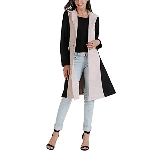 AOJIAN Women Jacket Long Sleeve Outwear Temperament Cardigan Elegant Maxi Overcoat Trench Long Coat