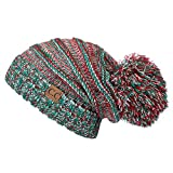 Hatsandscarf CC Exclusives Unisex Oversized Slouchy Beanie with Pom (HAT-6242POM) (X-MAS)