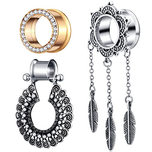 TIANCI FBYJS 3 Pairs Dangling Ear Gauges Flare Woman Earring Plugs Tunnels Stretcher Expander 00g Piercing Kit (12mm=1/2'')