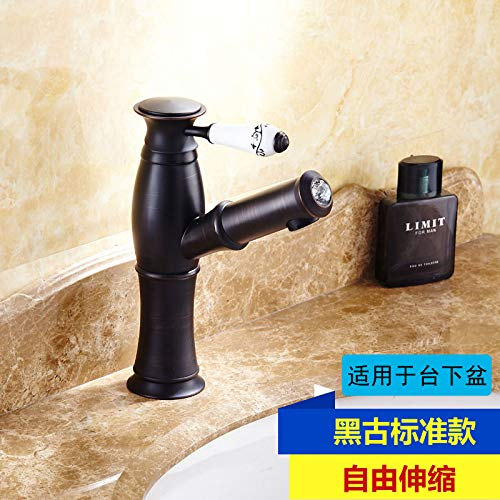 Black Antique Pull-down Standard) Hlluya Professional Sink Mixer Tap Kitchen Faucet All copper pull hot and cold golden basin faucet antique table basin table telescoping faucet, exclusive of the gold standard