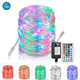 Rope-Lights-Outdoor, Fairy-Lights Led String Lights 33 Ft 100 LEDs Rope Lights Plug In, Connectable Multicolor Lights Color Changing Lights with Remote for Outdoor Patio Porch Lawn Canopy(BasicSet)