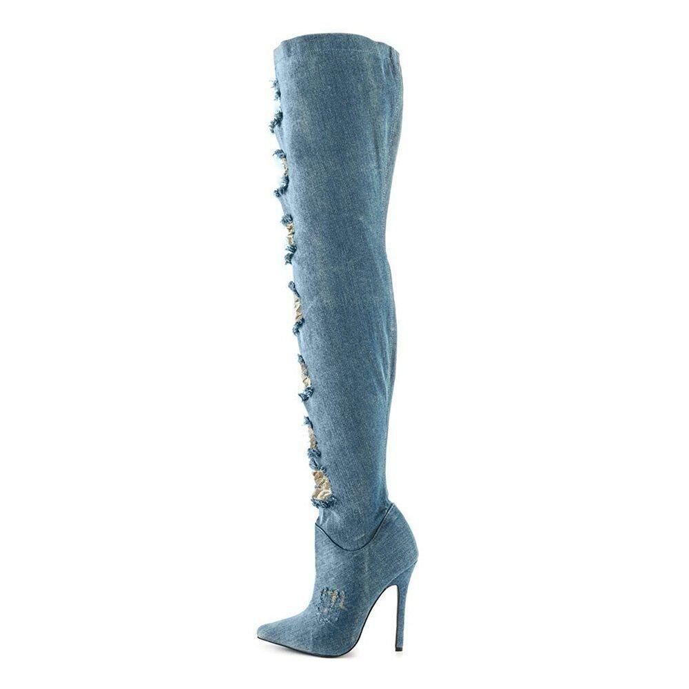 ¥sautope Donna Cowboy Stivali Coscia Appuntito Cerniera Laterale Tacco Alto Stivali Forza Elastica,blu,45EU