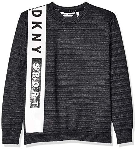 DKNY Boys' Big French Terry Pop Over Sweatshirt, Black Heather, 10/12