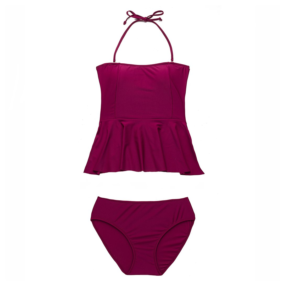 MEATFLY.Women's Swimsuit High Waisted Swimwear Two Piece Bathing Suit Tankini (Wine Red, US 8-10=Tag Size L)