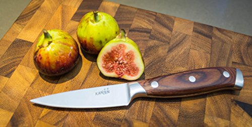 Kanzen Paring Knife 3.5 Inch - High Carbon Stainless Steel, Packaged in Gift Box, Razor Sharp, Perfect for Fruit and Vegetables, Ideal for Peeling, Slicing, Mincing, and Dicing! Full Tang Construction by Kanzen (Image #3)