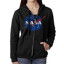 KIHOYG Women's Nasa Chemtrails Logo Hooded Zip Front Sweatshirt