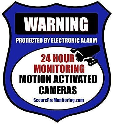 """6 """"REAL"""" Blue Burglar Alarm Video Surveillance Security Decals Door & Window Stickers"""