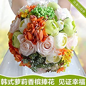 Bridal Bridesmaid Wedding Bouquet Champagne Artificial Rose Flower Bride Bouquets Holding Flower Home Decor 70