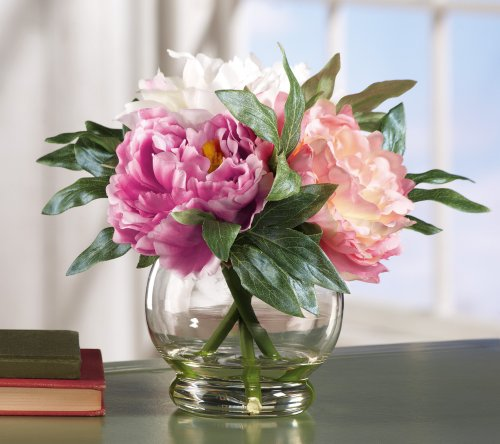 Faux Peony Floral Bouquet in Vase, Pink