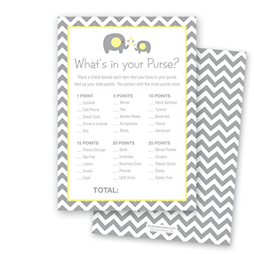 24 Chevron Elephant Baby Shower What's In Your Purse Game Cards (Yellow)