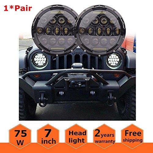 7 Inch 75W Round LED Headlights with Cree XT-E Chip and DRL, Hi/Lo Beam Headlamp, Waterproof IP67, For Jeep Wrangler CJ-5 CJ-7 1997-2017 TJ LJ JK Rubicon, Sahara, Chevy Blazer FJ Cruiser, Hummer H1 (Wrangler Road Off)