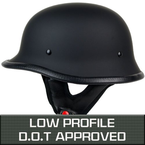 PGR B09 LOW PROFILE GERMAN STYLE HARLEY STYLE DOT APPROVED MOTORCYCLE HALF HELMET CHOPPER CRUISER CUSTOM AIRSOFT PAINTBALL (X-Large, Matte Black)