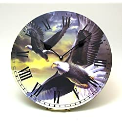 HomeCrafts4U Wall Clock American Eagles Picture Table Desk Large Analog Battery Old Fashioned Watch Room Office Outdoor Decor Accent