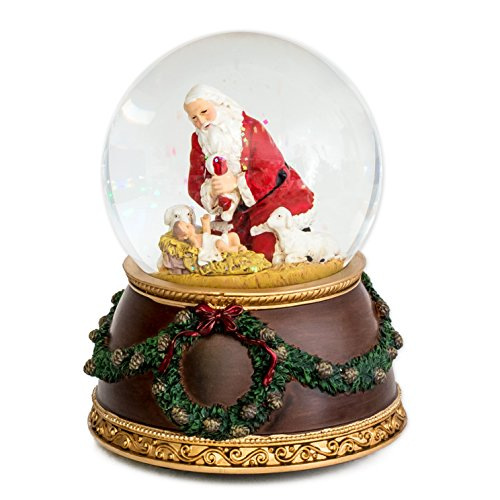 Scene Nativity Snowglobe (Joseph Studio The Kneeling Santa Musical Silent Night Christmas Water Globe)