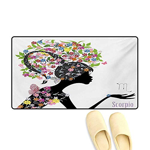 Bath Mat,Fashion Girl Silhouette with Colorful Blossoming Floral