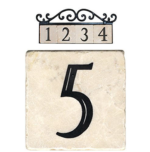 Nach az classic house address number tiles 5 marble for Classic house number plaque