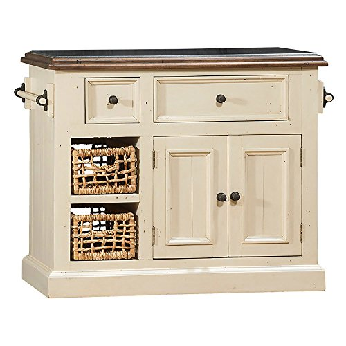 Hillsdale Furniture Granite Top Kitchen Island in Country White (Hillsdale Kitchen Island)