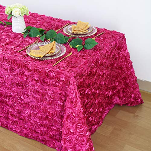 B-COOL Rose Rosette Tablecloth Romantic Royal Gentler Overlay for Wedding/Bridal Shower/Party/Valentine's Day 90