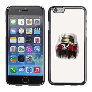 GOODTHINGS Funda Imagen Diseño Carcasa Tapa Trasera Negro Cover Skin Case para Apple Iphone 6 - soldado se levantó flores de muerte cráneo guerra