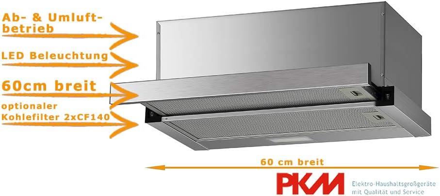 Campana plana de 60 cm para montaje de campana extractora, extensible, iluminación LED, apto para salida de aire y recirculación.: Amazon.es: Grandes electrodomésticos