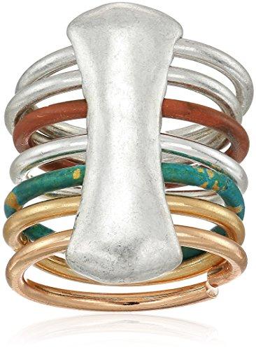 Robert Lee Morris It's Ringing Sculptural Mixed Multi-Row Ring, Size 8.5