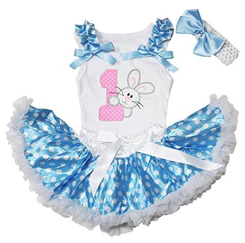 Easter Rabbit 1st Birthday Shirt Blue Polka Dots Baby Pettiskirt Tutu Set 3-12m