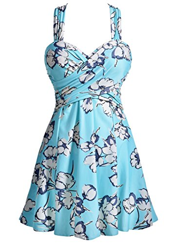 (COCOPEAR Women's Elegant Crossover One Piece Swimdress Floral Skirted Swimsuit(FBA) Medium Aquamarine Floral 3XL/16-18)