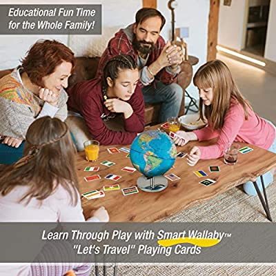 Children Illuminated Spinning World Globe with Stand Plus a Bonus Card Game. 3 in 1 Interactive Educational Desktop Earth Globe for Kids|LED Night Light Lamp, Political Map and Constellation View.: Office Products