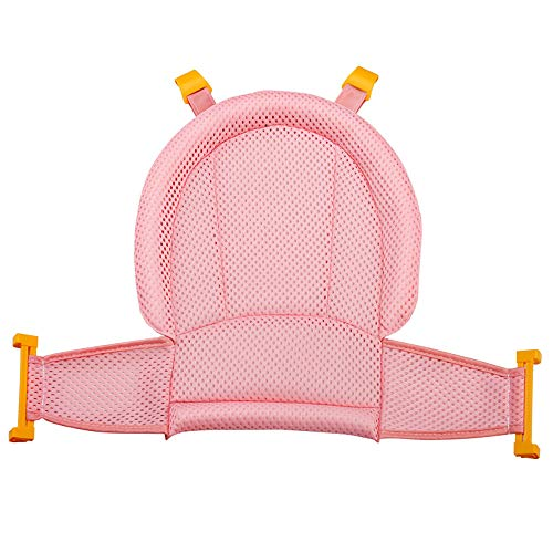 Seasonfall Baby Bath Seat Support Net, Comfortable Bathtub Cradle Sling Mesh Adjustable Safety Shower Mesh for Infant Newborn Bathing (Pink)