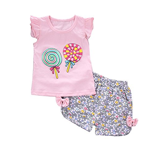 Toddler Baby Girls Summer Clothing Sets Candy Pattern Clothes Set Kids Fashion Sport Suit Set(Pink,4T)