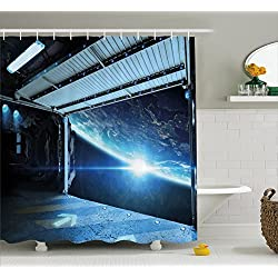 Ambesonne Outer Space Decor Shower Curtain, Interstellar Airlock Shuttle Runway Gate Journey to Stars Invasion View, Fabric Bathroom Decor Set with Hooks, 70 inches, Blue Gray