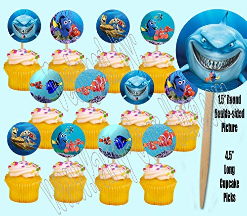 (Party Over Here Finding Nemo Cupcake Picks Double-Sided Images Cake Topper -12, Dory, Marlin,)