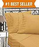 Size Difference Between King and California King Elegant Comfort Best, Softest, Coziest 6-Piece Sheet Sets! - 1500 Thread Count Egyptian Quality Luxurious Wrinkle Resistant 6-Piece DAMASK STRIPE Bed Sheet Set, California King Camel/Gold