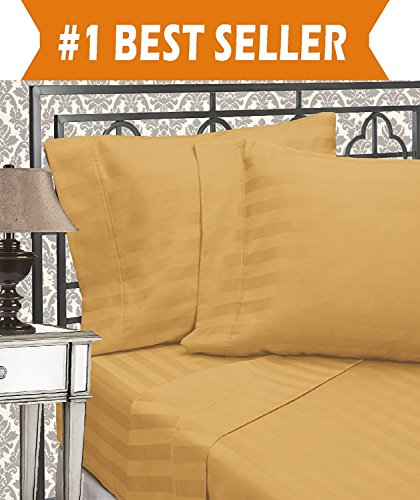 Elegant Comfort Best, Softest, Coziest 6-Piece Sheet Sets! - 1500 Thread Count Egyptian Quality Luxurious Wrinkle Resistant 6-Piece Damask Stripe Bed Sheet Set, California King Camel/Gold (Difference Between King And California King Bed Sheets)