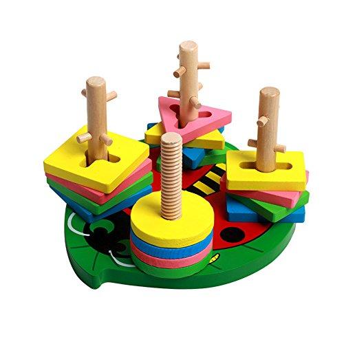 Emotionlin Four Sets Children's Educational Development Column Shape Color Blocks Toys (Miniature Electro)