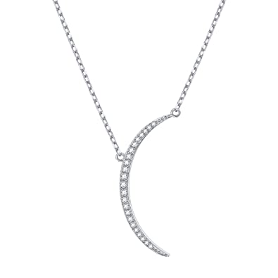 c3ea35c6d SILVER MOUNTAIN S925 Sterling Silver Crescent Half Moon Pendant Necklace  for Women Girls Birthday Gift,