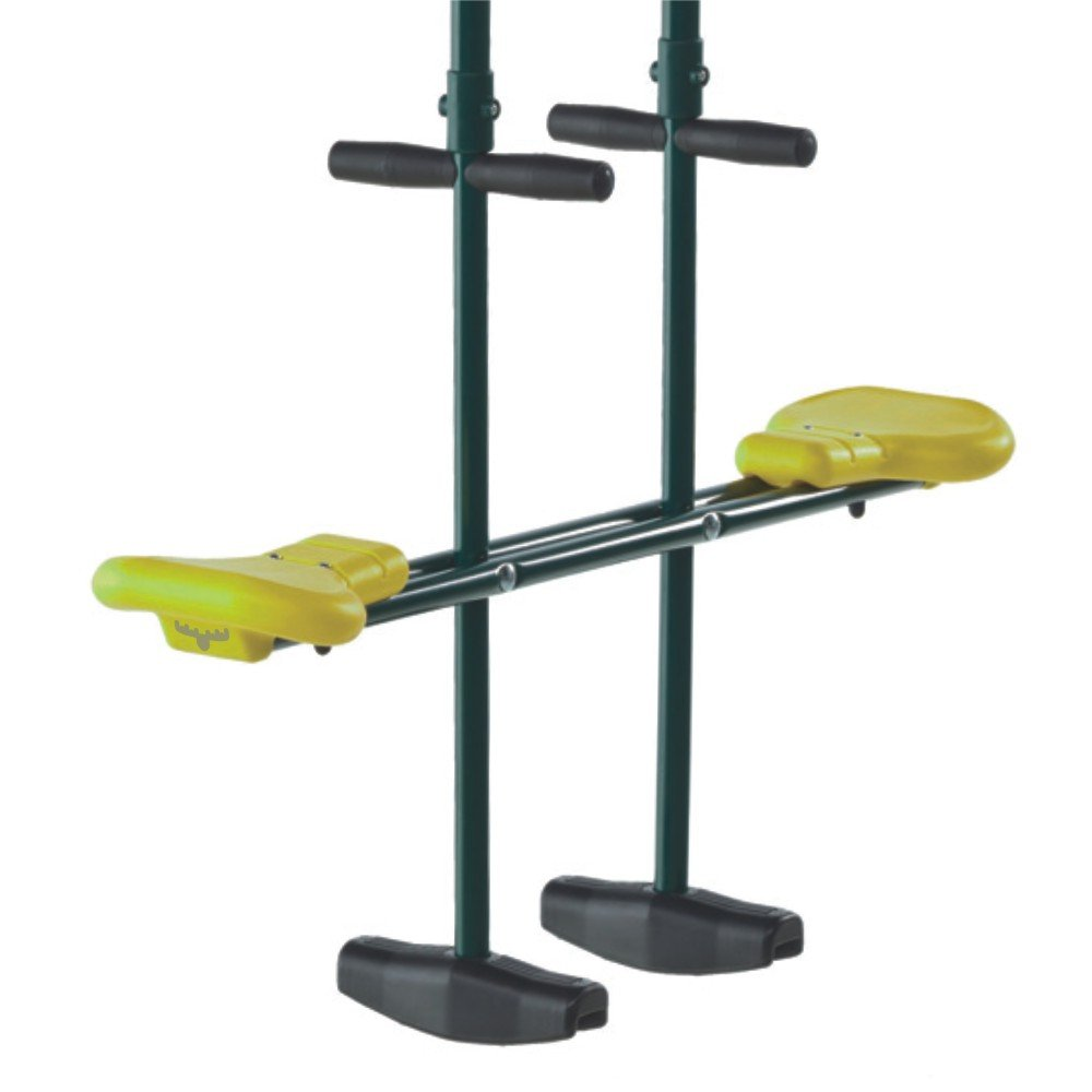 FATMOOSE Doppelschaukel TwinRider Metall Flex Duoschaukel Tellerwippe Schaukelsitz, grün-gelb, 210x99x23,5cm, Metall