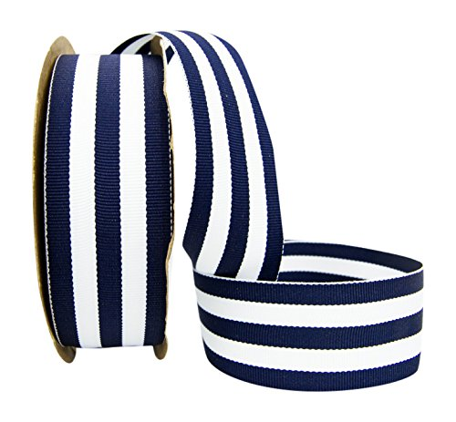 Ribbon Bazaar Grosgrain Mono Stripes 1-1/2 inch Navy 20 Yards 100% Polyester Ribbon (Blue And White Stripped Ribbon)