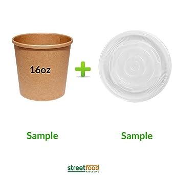 Recipiente de sopa de papel marrón con tapas de ventilación ...