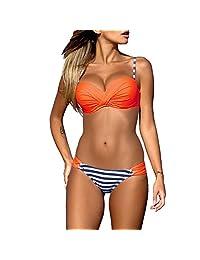 Romacci Women Push Up Two Piece Bikini Set Candy Padded Swimwear
