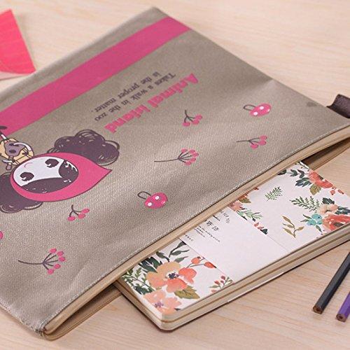 Katoot@ 4 pcs/lot Cute girl folder Kawaii A4 paper zipper file bag Document Bag Kawaii stationery office material school supply
