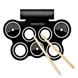 Tiangtech Portable Electronic Drum Pad Kit with Sticks and Foot Pedals - Complete Silicone Roll-Up Style Electronic Drum Set