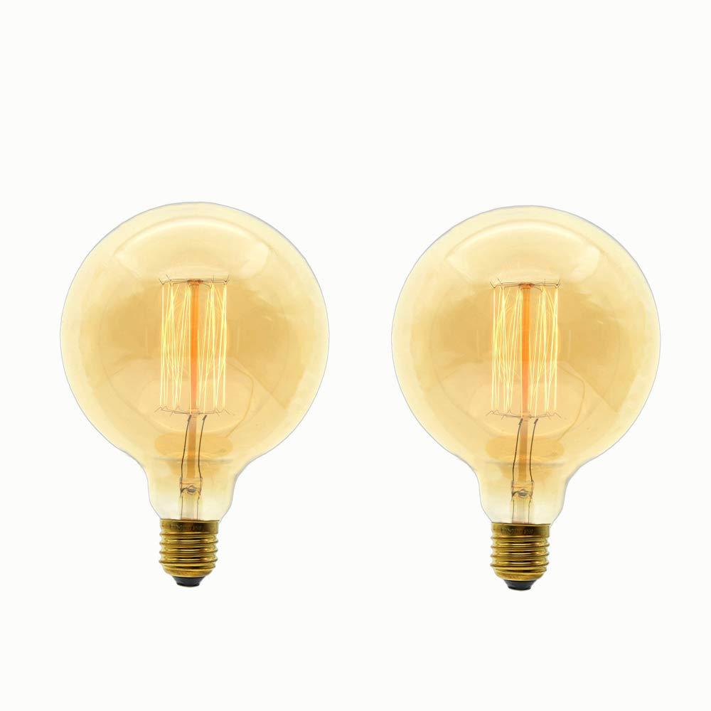 Edison Vintage Gl/ühbirne,ONLT G125 E27 60W Dekorative Leuchtmittel,Warmes Licht,Industriell Stil Gl/ühbirne Dekorative Leuchtmittel 2 St/ück