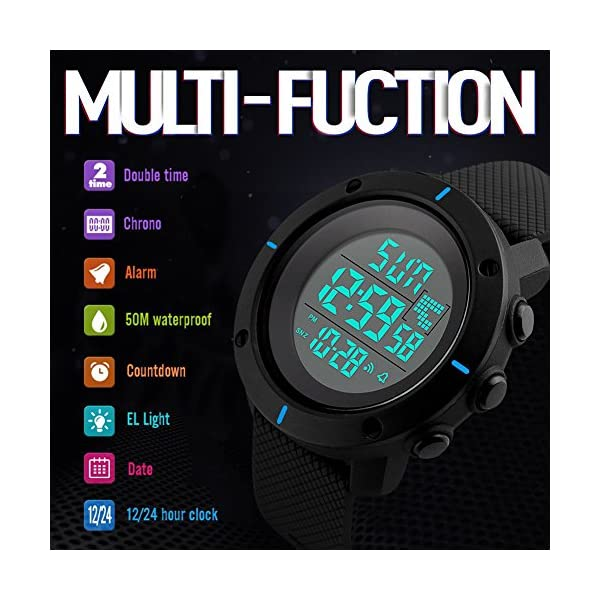 Kids Digital Sport Watch - Outdoor Waterproof Watch with Alarm for Boys, Wrist Watches with Timer SEEWTA