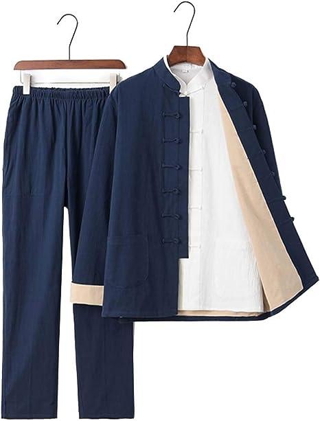 JXS Tai Chi Uniforme Vestimenta - Ropa de algodón Transpirable de Tela - con la Camisa - de Kung Fu Wing Chun Martial Formación Artes,Dark Blue,XXXXL: Amazon.es: Deportes y aire libre