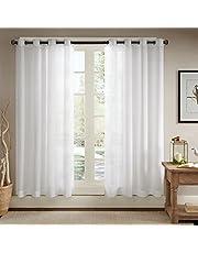 Solid Sheer Ösenschal Voile Vorhang in Leinen-Optik Ösenvorhang Gardine Wohnzimmer Elegant, Offwhite (2er-Set)