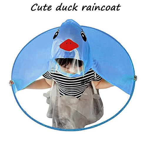 Joint Cute Kids Rain Coat Duck UFO Umbrella Hat Magical Hands Free Raincoat Children's Hooded Poncho Cloak 3-12 Years Old (Large, Blue)
