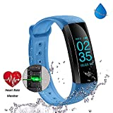Fitness Tracker - HapFit Blue Smart Band Activity Wristband Bluetooth Bracelet with Heart Rate Sleep Habit Monitor Steps Calorie Mileage Counter Waterproof Pedometer Watch for Android or IOS Phone