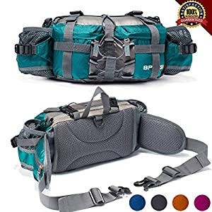 Outdoor Fanny Pack Hiking Camping Biking Waterproof Waist Pack 2 Water Bottle Holder Sports Bag for Women and Men Green